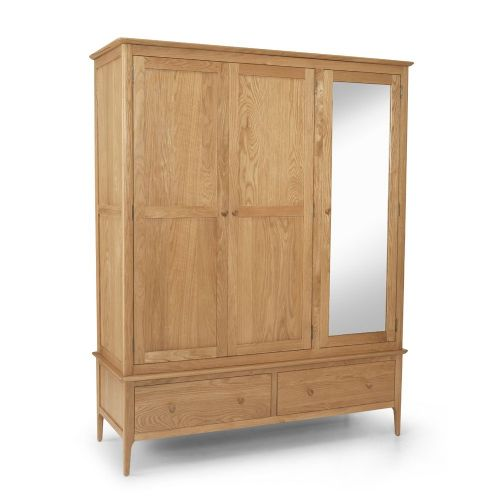 Stanton Oak Triple Wardrobe with Drawers and Mirror
